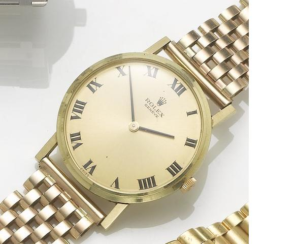 Rolex. A 9ct gold bracelet watch with fitted box London Hallmark for 1976, sold January 1st 1981