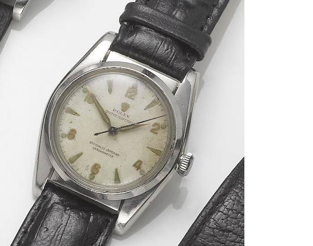 Rolex. A stainless steel centre seconds wristwatch with bubble back  Oyster, Ref:5050, 1940's