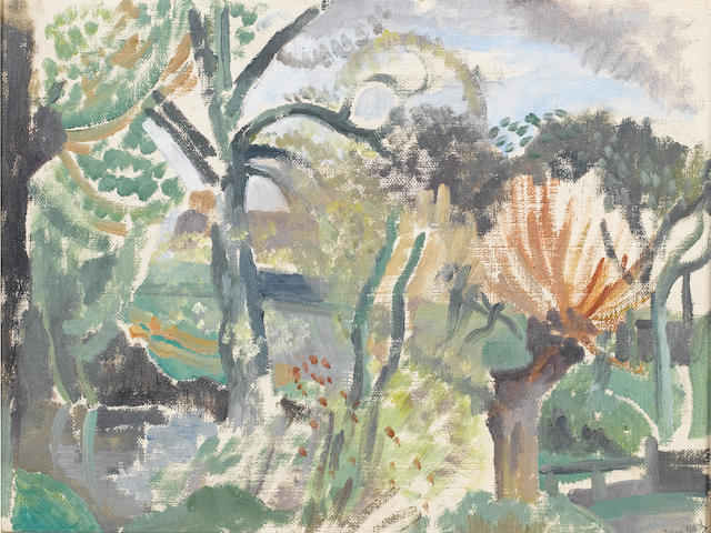 John Nash R.A. (British, 1893-1977) Wooded landscape 25.5 x 33.5 (10 x 13 1/4 in.)
