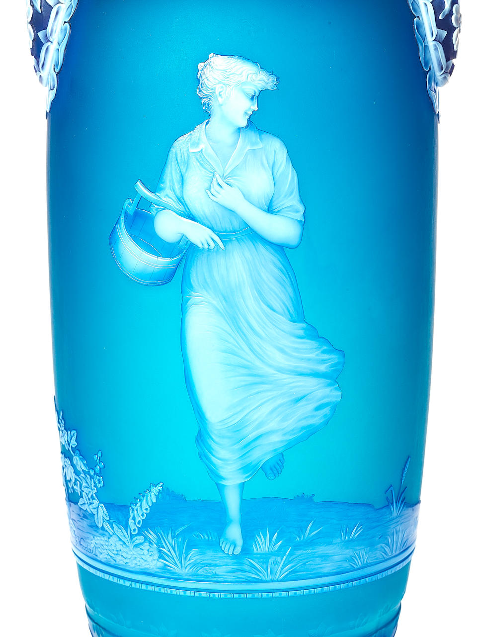 A fine and important two-handled cameo glass vase, 'The Milkmaid', by George Woodall Circa 1891.