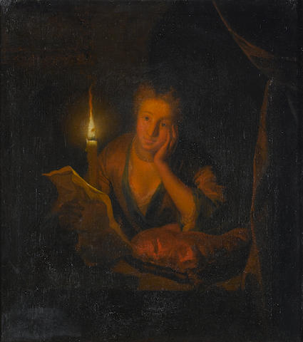 Follower of Godfried Schalcken (Dordrecht 1643-1706 The Hague) A lady contemplating a letter by cand