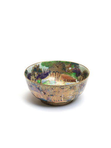 Daisy Makeig-Jones for Wedgwood 'Woodland Bridge' and 'Woodland Elves V' a Fairyland lustre bowl, circa 1925