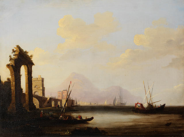 Circle of Clarkson Stanfield, RA (British, 1793-1867) A harbour view with ruins on a quayside