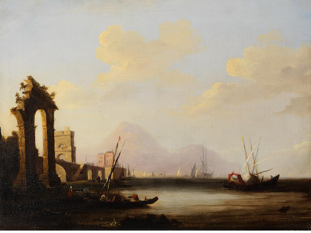 DUTCH SCHOOL Harbour view with ruins, figures and boats 45cms by 60cms