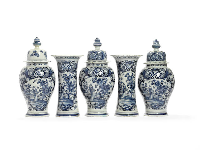 A Dutch Delft blue and white five-piece garniture Mid 18th century
