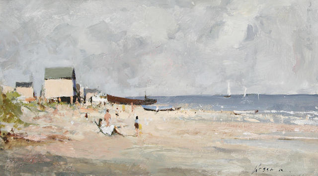 Edward Wesson, R.I., R.B.A., R.S.M.A. (British, 1910-1983) Holiday Beach - Plage de Vacance; In the Estuary (2)
