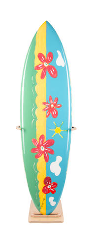 Sir Paul McCartney for Surfers Against Sewage,  organic acrylics on glassed and polished surfboard,