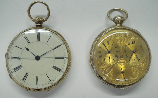 A lot of 2 various gold pocket watches  2