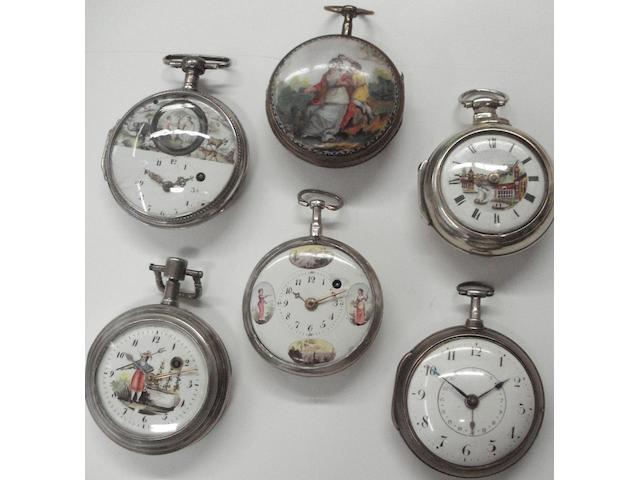 A lot of 6 various English and Continental open faced silver pocket watches  6