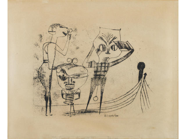 Paul Klee (Swiss, 1879-1940) Vulgäre Komödie Lithograph, 1922, a proof, aside from the numbered edition of 10, on wove, signed 'K' in the plate, with the pencil addition of 'lee', the work number 100 in the plate, with the title and inscription 'Probedruck' lower margin in pencil, printed by Staatliches Bauhaus Weimar, 323 x 439mm (12 1/2 x 17 1/4in)(SH)