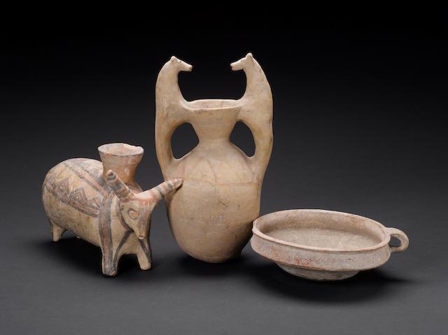 Three Ancient Near Eastern terracotta vessels 3