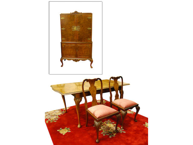A walnut and figured walnut dining room suite, mid-20th Century Possibly by Waring & Gillow