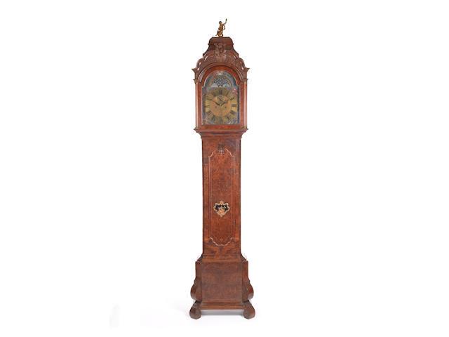 A mid to late 18th century Dutch burr walnut longcase clock R.S. Cresp
