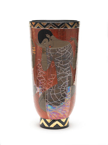 Sally Tuffin  'Lustred Josephine Baker' a large art deco shaped vase, 2008