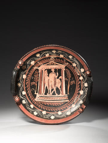 A large Apulian red-figure knob-handled patera