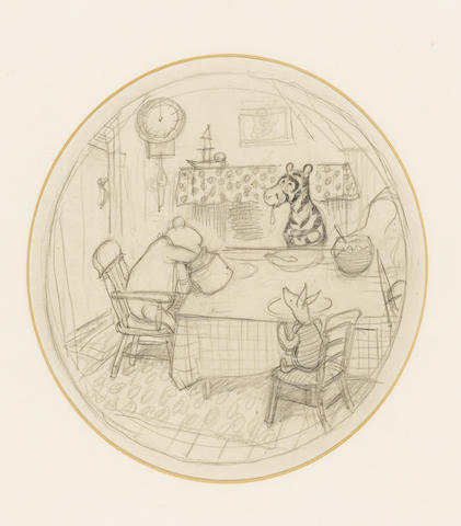 SHEPARD (E.H.) A fine large oval pencil drawing of Winnie-the-Pooh (reaching his hand into a honey p