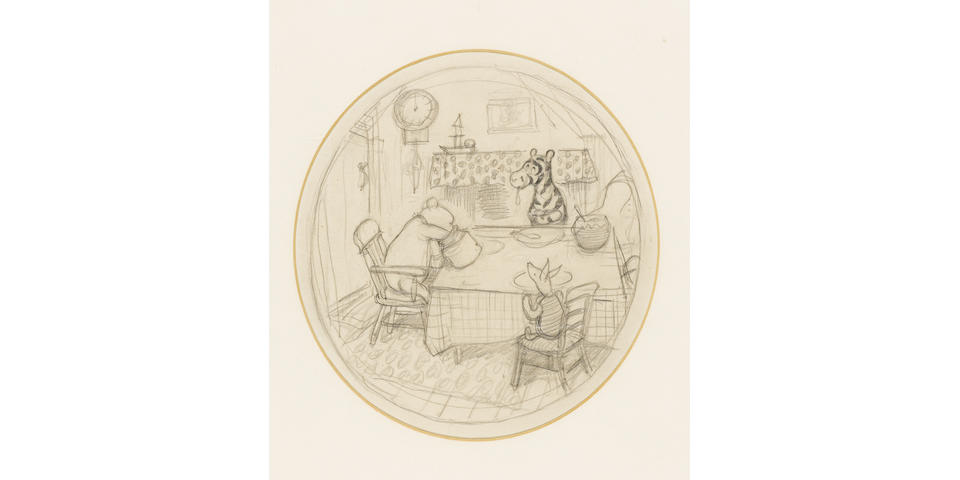 SHEPARD (E.H.) A fine large oval pencil drawing of Winnie-the-Pooh (reaching his hand into a honey pot), Tigger, and Piglet seated at a kitchen table