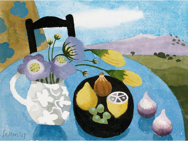 Mary Fedden R.A. (British, born 1915) Table still life with chair