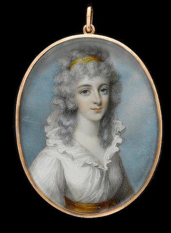 George Place (Irish, died 1805) A Lady, wearing white dress with frilled collar and orange sash, her curled and powdered hair worn long and dressed with an orange bandeau