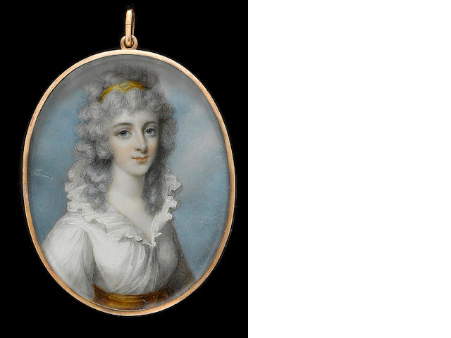 (n/a) George Place (Irish, died 1805) A Lady, wearing white dress with frilled collar and orange sash, her curled and powdered hair worn long and dressed with an orange bandeau