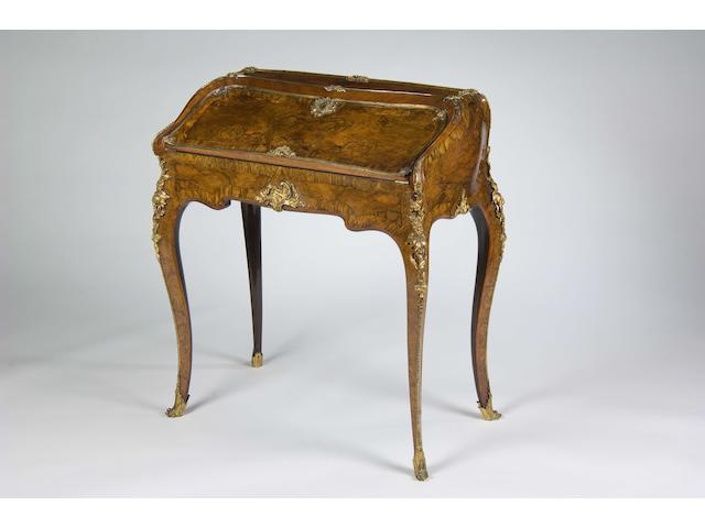 A good Louis XV style gilt-bronze-mounted walnut, stained maple, ebony and tulipwood banded bureau de dame late 19th century