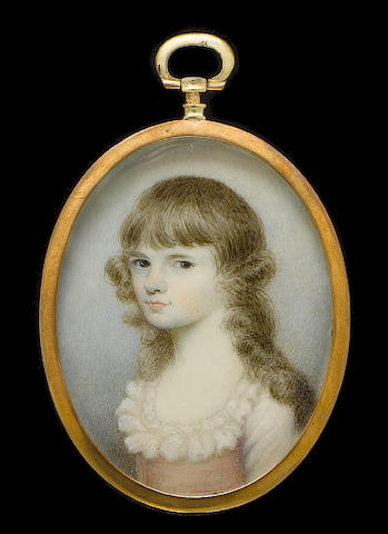 (n/a) English School, circa 1785 A Young Girl, wearing white dress with frilled neckline and broad pink sash, her curling brown hair worn long