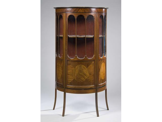 An early 20th Century mahogany and inlaid bowfront display cabinet