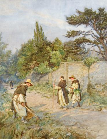 Henry Reynolds Steer (British, 1858-1928) Monks in a country lane