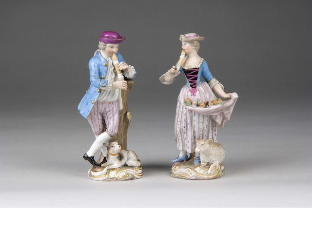 A pair of Meissen models of a shepherd and shepherdess late 19th Century,