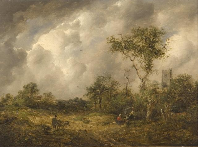 Attributed to Richard H. Hilder (British, 1813-1852) Gypsy encampment in a wooded landscape
