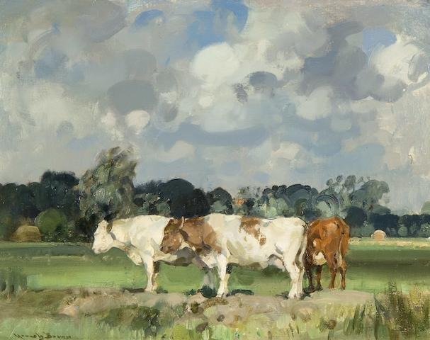 Sir John Alfred Arnesby Brown (British, 1866-1955) Cattle in a field