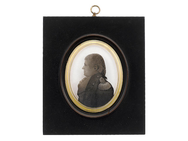 Arthur Lea (British, 1768-1828) A silhouette of Admiral Sir Thomas Foley GCB (1757-1833), profile to the left, wearing coat with epaulette, waistcoat and frilled chemise, his hair worn in a pigtail