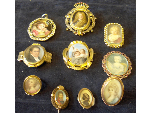 Ten portrait miniatures in jewellery settings
