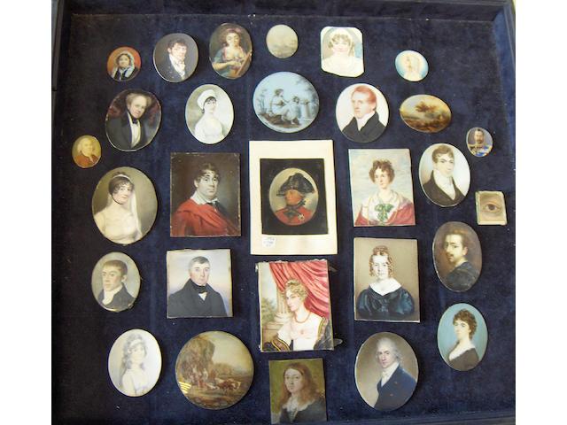 Twenty-eight unframed portrait miniatures