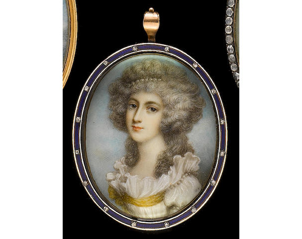 After Andrew Plimer, early 19th Century A Lady, wearing white dress tied with yellow sash, pearls at the shoulder, her powdered hair worn long and curling and dressed with pearls