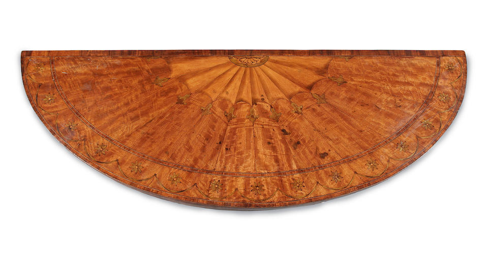 A near pair of George III style satinwood and marquetry pier tables