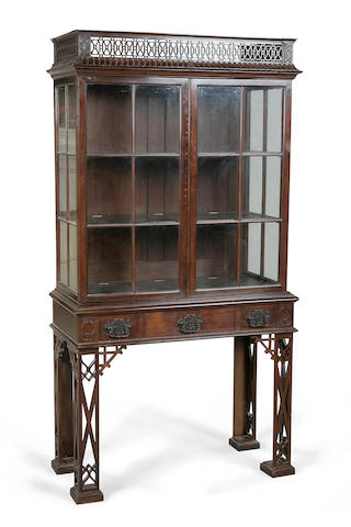 A Chippendale revival mahogany display cabinet