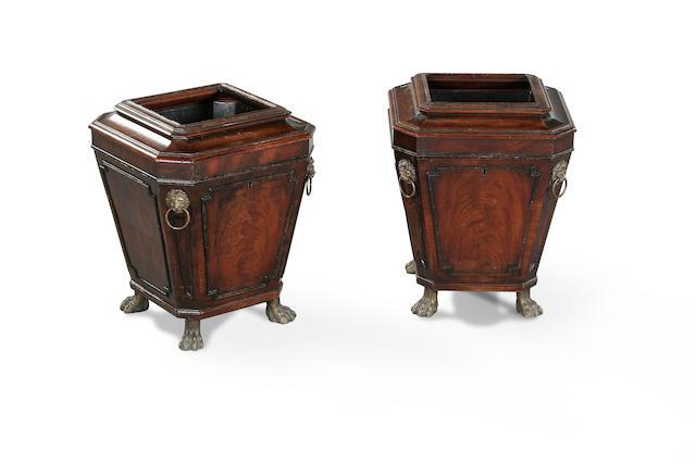 A pair of Regency mahogany cellarettes circa 1820