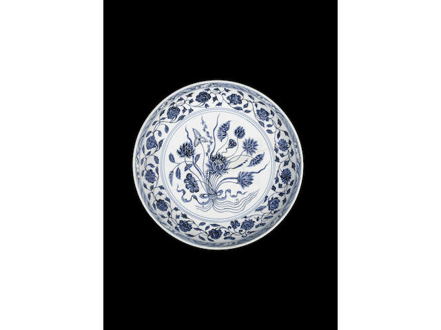 A large blue and white 'lotus bouquet' dish Yongle