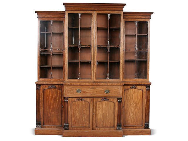 A William IV mahogany breakfront library secretaire bookcase circa 1835