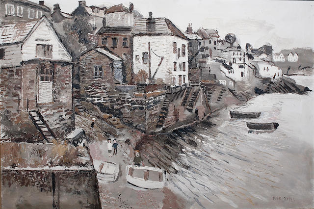 Fred Yates (British, 1922-2008) Polruan waterfront, with figures and beached boats in the foreground, on canvas, signed lower right, 59 x 89cm