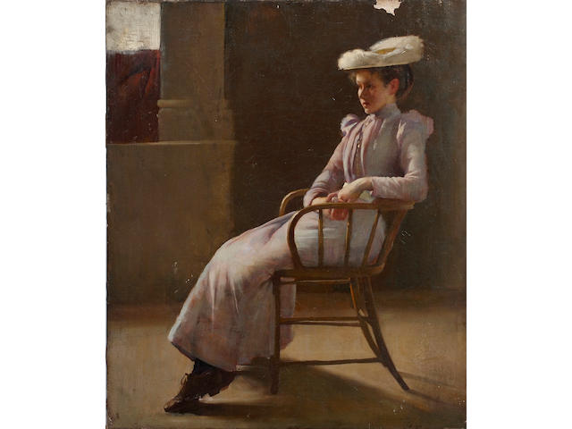 James Peter Quinn (Australian, 1870-1951) Full length seated study of a young woman in an interior, on canvas, unframed, signed lower right, 66 x 55.5cm See colour illustration centre pages
