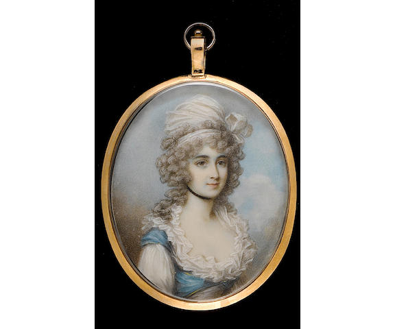 After George Engleheart, early 19th Century A Lady, wearing dress with blue bodice piped with yellow over white chemise with ruffled collar, black ribbon choker, her hair curled and powdered beneath a white turban