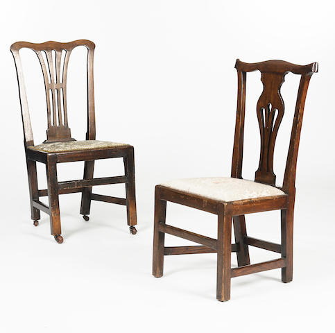 A 19th century elm open armchair