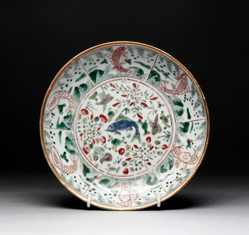 A Chinese famille verte shallow circular dish Kangxi period