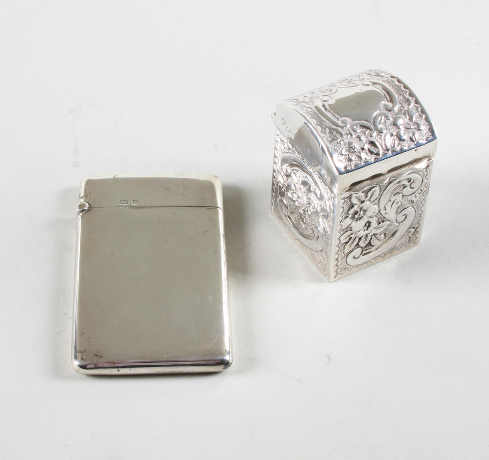 A late Victorian silver miniature playing cards box By Nathan and Hayes, Chester, 1900,  (2)