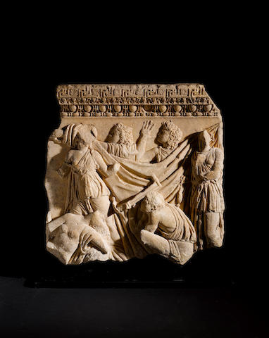 A Roman marble sarcophagus relief of Orestes