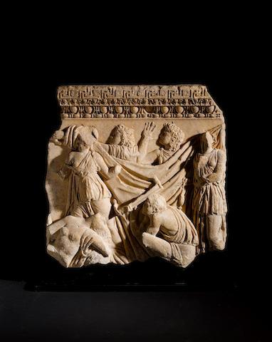 A Roman marble sarcophagus relief