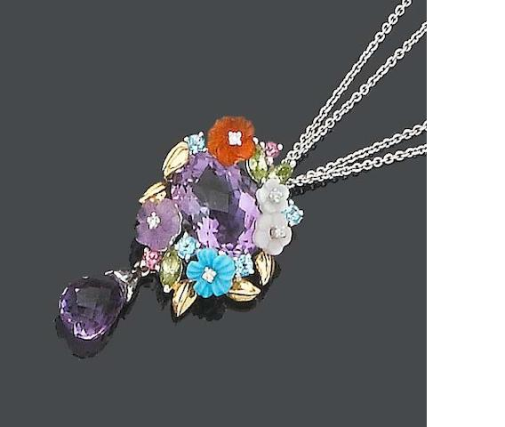 A multi gem-set pendant/necklace and earring suite, by La Posy