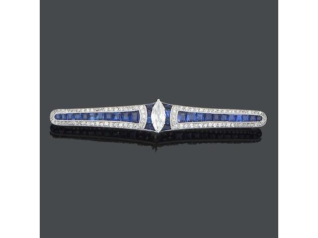 An early 20th century sapphire and diamond bar brooch,